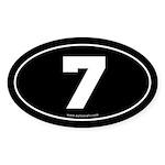 #7 Euro Bumper Oval Sticker -Black