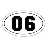#06 Euro Bumper Oval Sticker -White