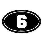 #6 Euro Bumper Oval Sticker -Black