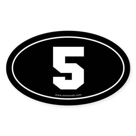 #5 Euro Bumper Oval Sticker -Black