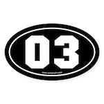 #03 Euro Bumper Oval Sticker -Black