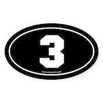 #3 Euro Bumper Oval Sticker -Black
