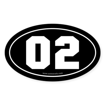 #02 Euro Bumper Oval Sticker -Black