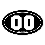 #00 Euro Bumper Oval Sticker -Black