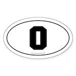 #0 Euro Bumper Oval Sticker -White