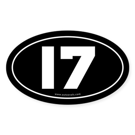 #17 Euro Bumper Oval Sticker -Black