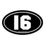 #16 Euro Bumper Oval Sticker -Black