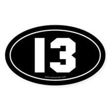 #13 Euro Bumper Oval Sticker -Black