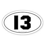 #13 Euro Bumper Oval Sticker -White