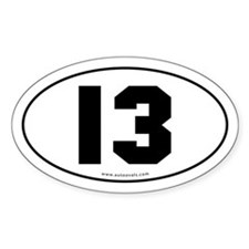 #13 Euro Bumper Oval Sticker -White