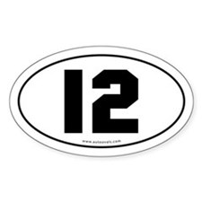 #12 Euro Bumper Oval Sticker -White