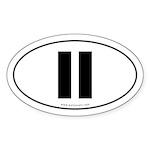 #11 Euro Bumper Oval Sticker -White