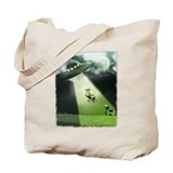 Comical Cow Abduction Tote Bag