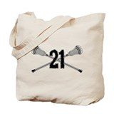 Lacrosse Number 21 Tote Bag