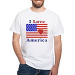 Heart America Flag White T-Shirt