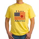 Heart America Flag Yellow T-Shirt