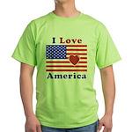 Heart America Flag Green T-Shirt