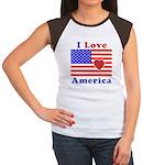 Heart America Flag Women's Cap Sleeve T-Shirt