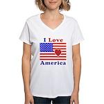 Heart America Flag Women's V-Neck T-Shirt