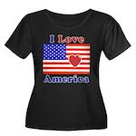 Heart America Flag Women's Plus Size Scoop Neck Da