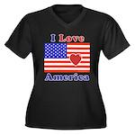 Heart America Flag Women's Plus Size V-Neck Dark T