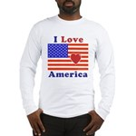 Heart America Flag Long Sleeve T-Shirt