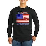 Heart America Flag Long Sleeve Dark T-Shirt