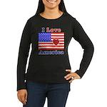 Heart America Flag Women's Long Sleeve Dark T-Shir
