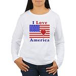 Heart America Flag Women's Long Sleeve T-Shirt