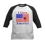 Heart America Flag Kids Baseball Jersey