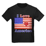 Heart America Flag Kids Dark T-Shirt