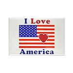 Heart America Flag Rectangle Magnet (10 pack)
