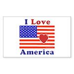 Heart America Flag Sticker (Rectangle)