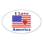Heart America Flag Sticker (Oval 10 pk)
