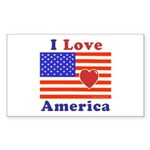 Heart America Flag Sticker (Rectangle 10 pk)