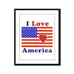 Heart America Flag Framed Panel Print