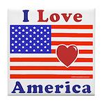 Heart America Flag Tile Coaster