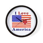 Heart America Flag Wall Clock