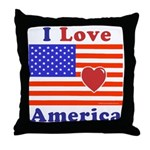 Heart America Flag Throw Pillow