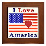 Heart America Flag Framed Tile
