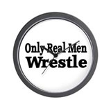 Only Real Men Wrestle Wall Clock