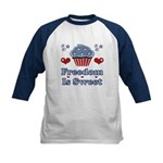 Freedom Is Sweet Americana Kids Baseball Jersey