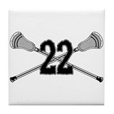 Lacrosse Number 22 Tile Coaster