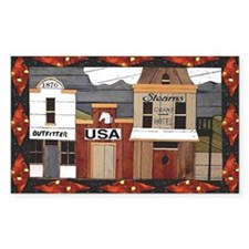 Promitive Art House , Flag ,a Rectangle Decal