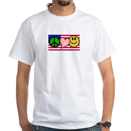 Peace Love Smile US Flag White T-Shirt