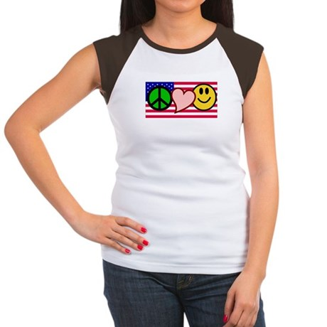 Peace Love Smile US Flag Women's Cap Sleeve T-Shir