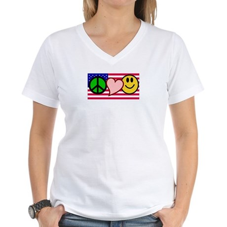 Peace Love Smile US Flag Women's V-Neck T-Shirt