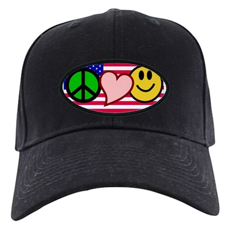 Peace Love Smile US Flag Black Cap