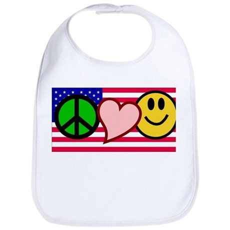 Peace Love Smile US Flag Bib