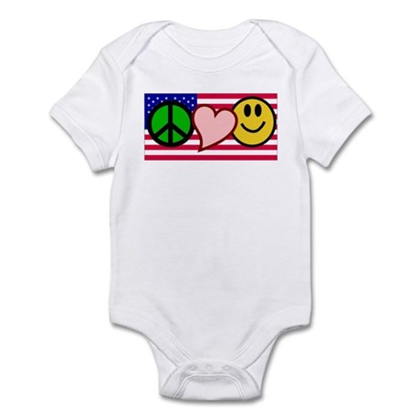 Peace Love Smile US Flag Infant Bodysuit